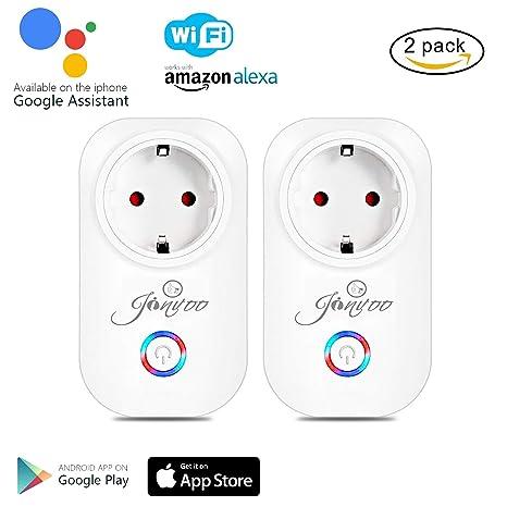 Jinvoo (2 paquetes) Zócalo inteligente Wifi funciona con Alexa y Google Home Smart phone