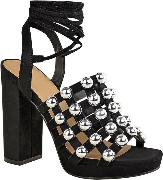 Sandales à talon bloc Noirargenté FEMME   H&M FR
