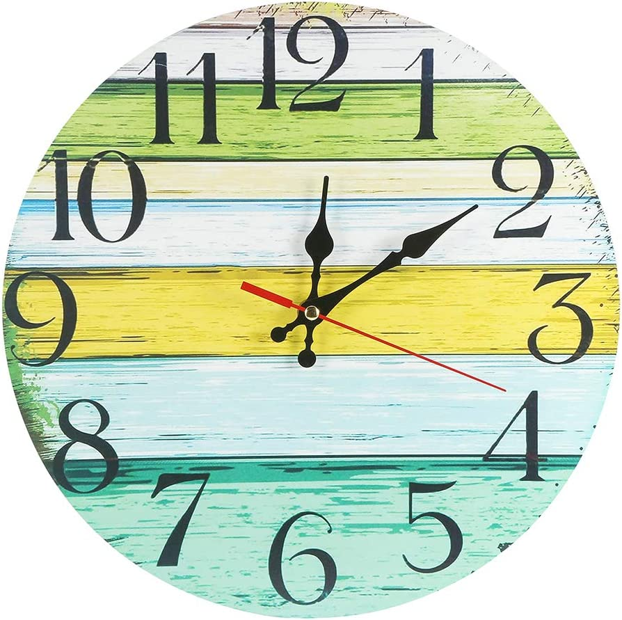 LOHAS Home 12 Inch Silent Vintage Design Wooden Round Wall Clock (Lake House)