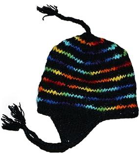 56cbc9e8cfe Sherpa Designs Hand Knit Unisex Wool Beanie Hat Ear Flap Fleece Lined Nepal
