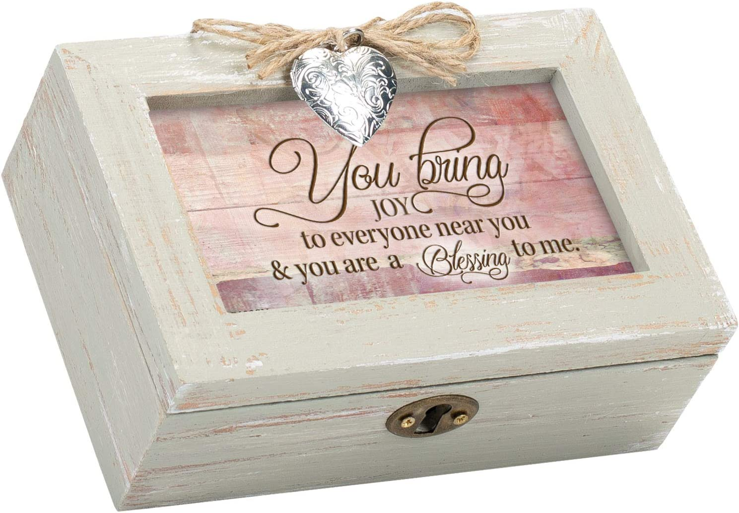 Cottage Garden You Bring Joy Blessing to Me Natural Taupe Wood Locket Petite Music Box Plays Amazing Grace