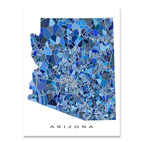 Map Of Arizona Only.Amazon Com Arizona Map Print Az State Wall Art Decor Blue Handmade