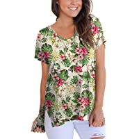 FAVALIVE Womens Short Sleeve Floral Print V-Neck T-Shirt Tops