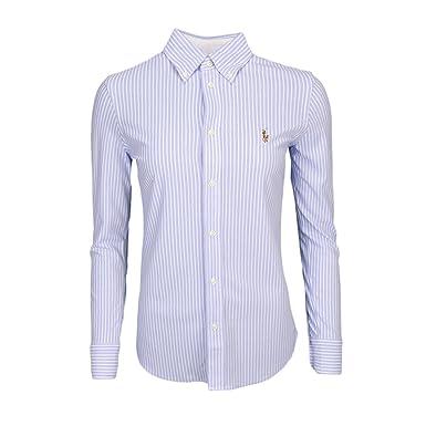 793fdd42638a Ralph Lauren Chemise Polo rayée en Coton piqué Bleu et Blanche pour Femme   Amazon.fr  Vêtements et accessoires