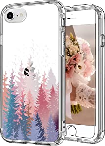 ICEDIO iPhone SE Case 2020,iPhone 8 Case,iPhone 7 Case with Screen Protector,Clear with Trees Floral Flower Patterns for Girls Women,Shockproof Protective Phone Case for iPhone 7/8/SE2