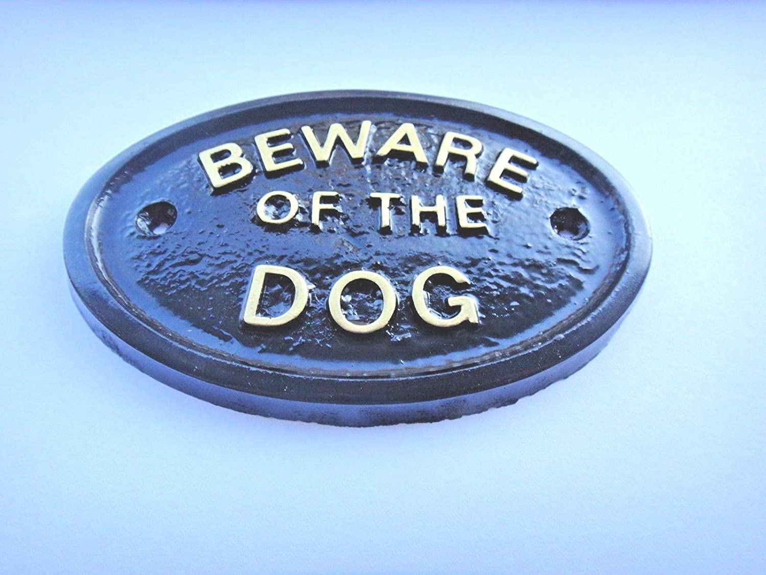 """BEWARE OF THE DOG"" WALL/GATE PLAQUE BLACK - KEEP UNWANTED PEOPLE AWAY model"