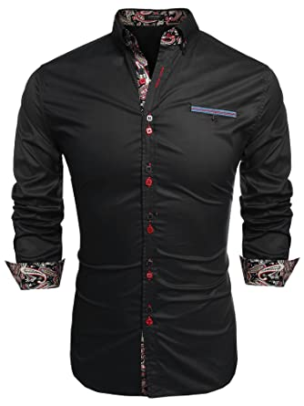 8c680340983e2 Coofandy Men's Fashion Slim Fit Dress Shirt Casual Shirt (Small, Black)