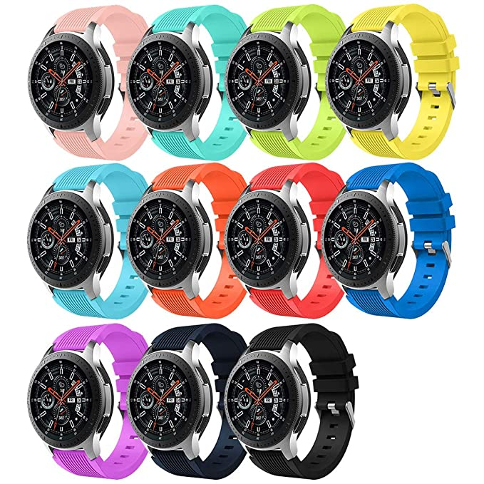 Budesi Band Compatible Samsung Galaxy Watch 46mm, Soft Silicone 22mm Replacement Bands Wrist Strap Bracelet Fit Samsung Gear S3 Classic/Frontier/Moto ...