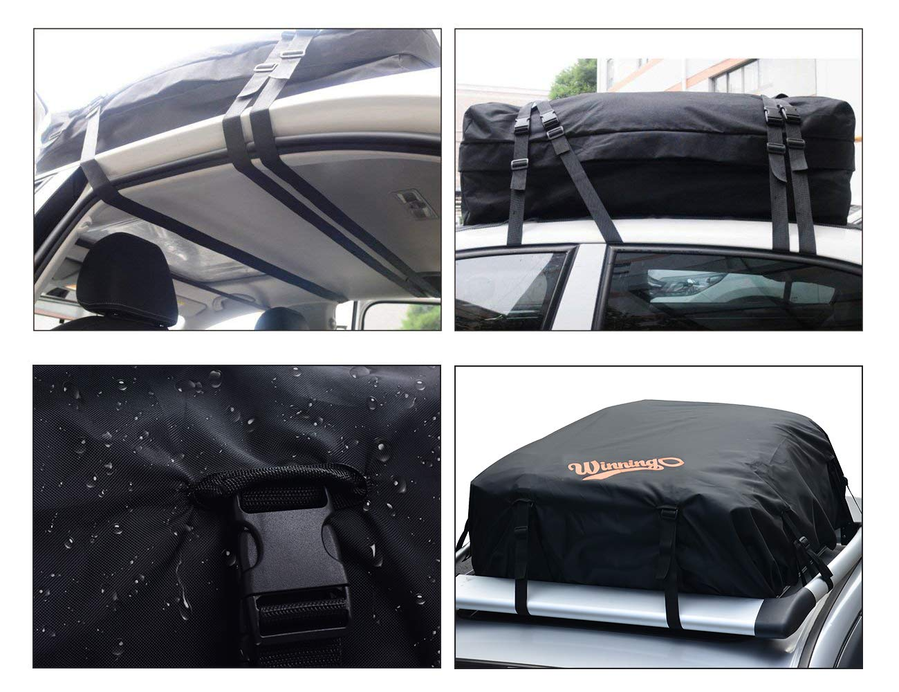 Water Resistant Cargo Bag Easy to Install Soft Rooftop Luggage Carriers Works With or Without Roof Rack WINNINGO Cargo Bag Free Waterproof Rain Cover BLACK-NEW