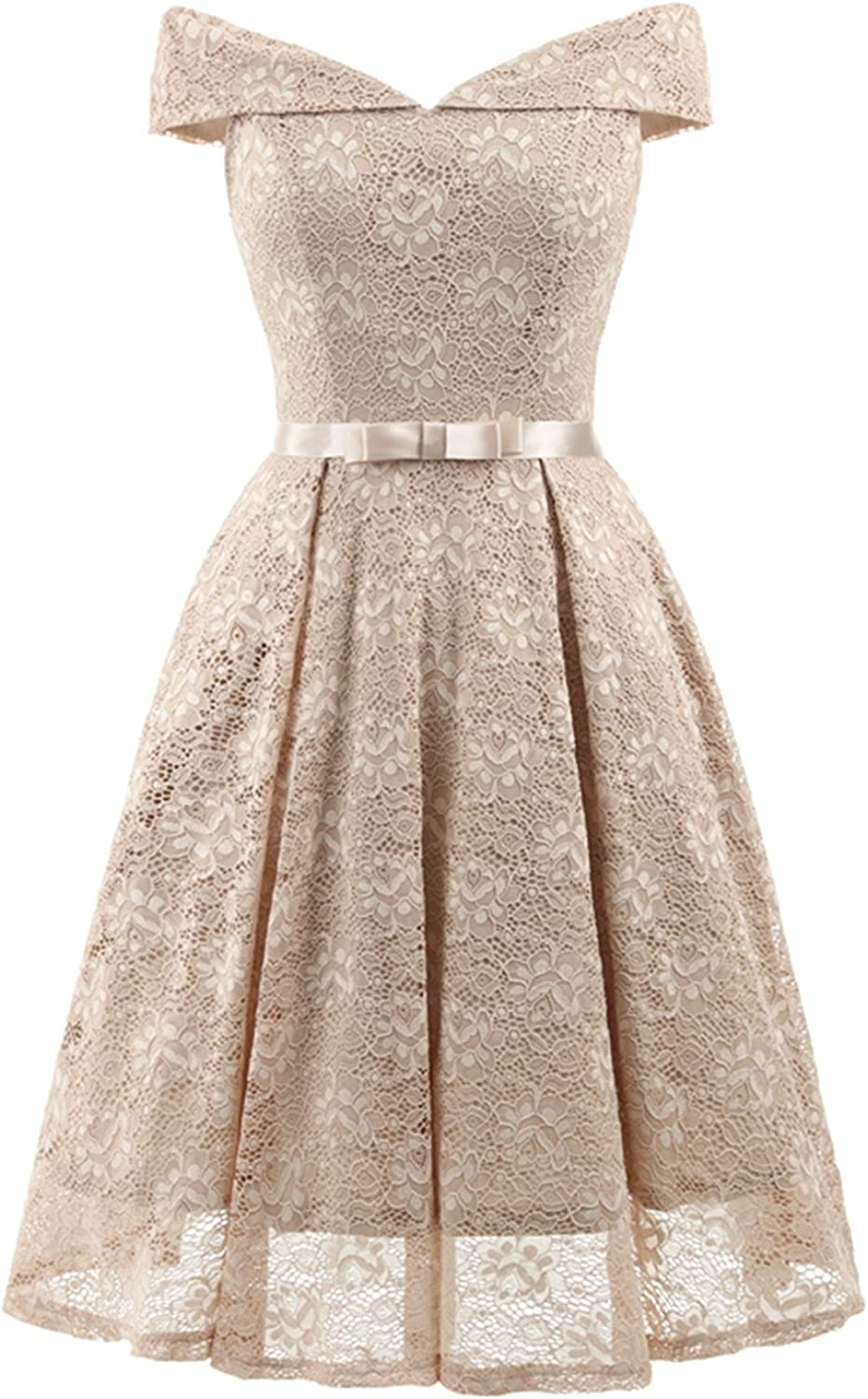 Chowsir Women Formal Bridesmaid Cocktail Party Prom Lace Midi Dress V-Neck Sleeveless