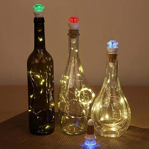 EFGS 4 Piezas LED De Luz Botella De Vino, De Carga USB Cobre Botella De Vino del Corcho Luz Forma De Estrella Luz, Fiesta De La Boda De Navidad Decoración ...