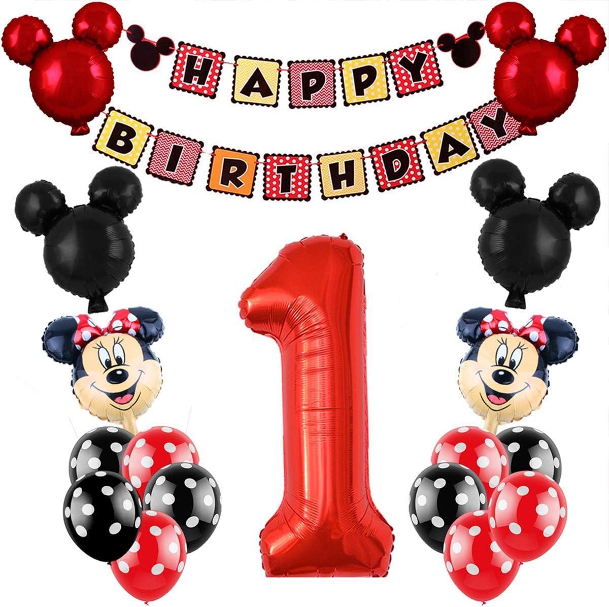 REYOK Decoraciones de cumpleaños de Mickey Mouse, Bolas de Nido de Abeja de Mickey Globo de Red Black, Banner de Happy Birthday, Globos número para la Fiesta temática de Mickey Mouse