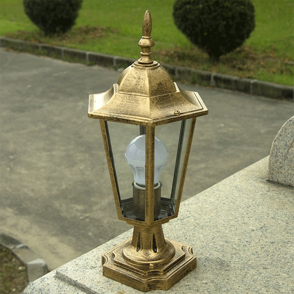 Modeen Continental Victoria 1-Light Glass Lantern Bronze Column Lamp Outdoor Table Lamp Modern Simple Aluminum Waterproof Street Post Light E27 Decoration Illumination