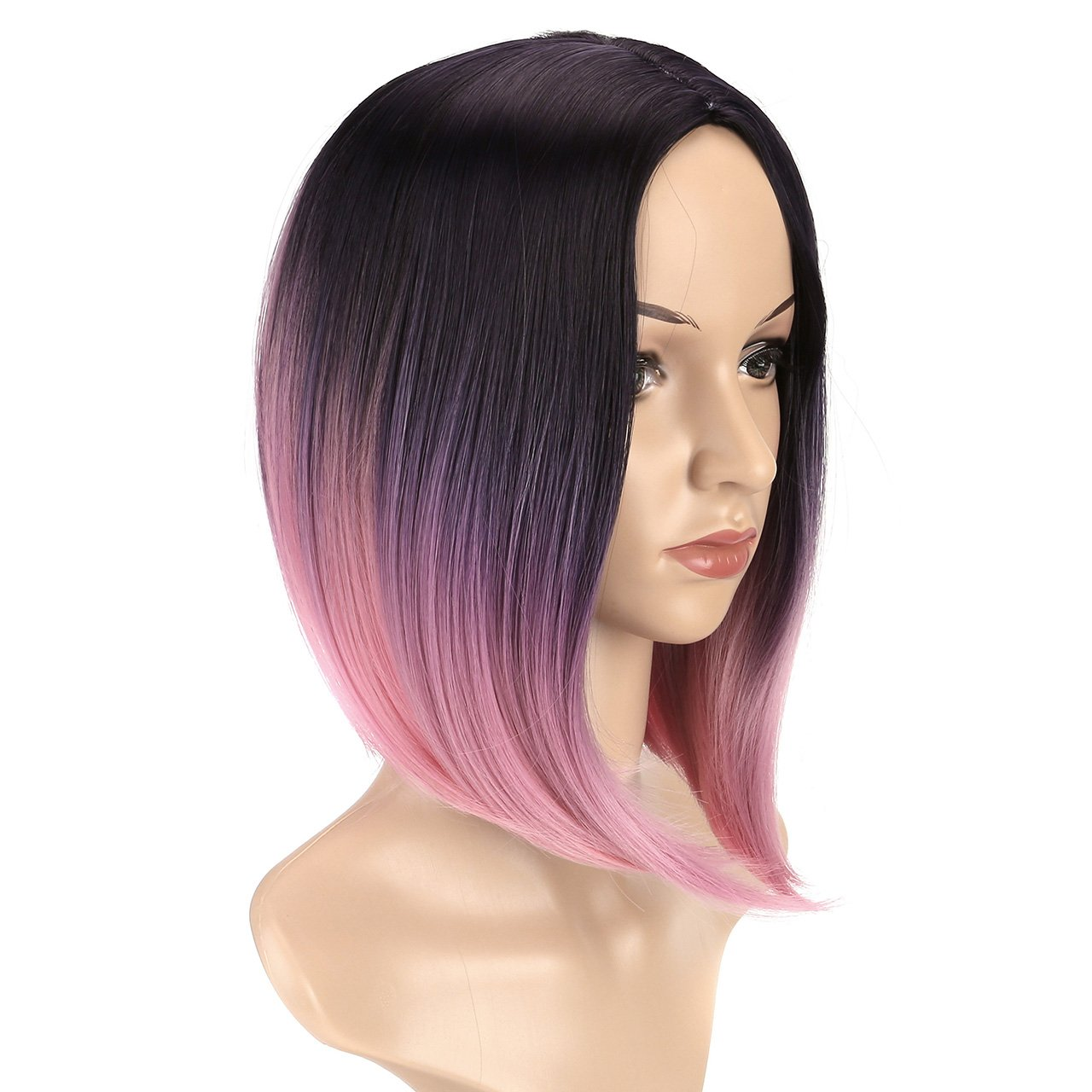 CCbeauty Ombre Bob Wig Straight With Middle Part Short Fashion Wig Cosplay Pink Ombre Wig Full Head Synthetic Wig for Women 14 Inches by CCbeauty (Image #3)