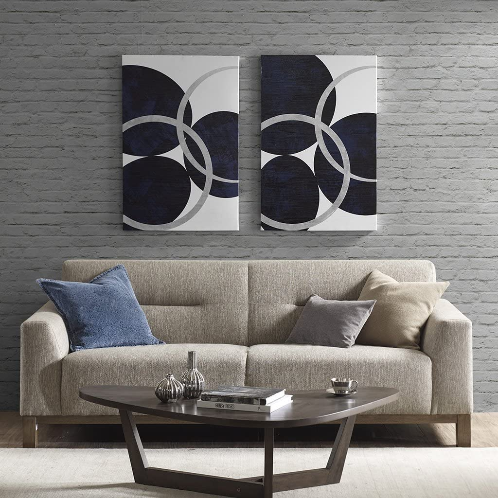 INK+IVY Celestial Orbit Foil Canvas, See Below, Navy