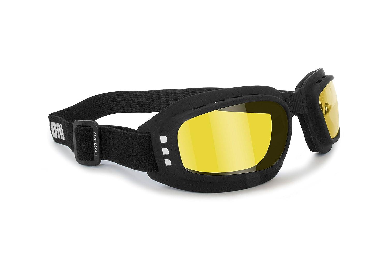 Motorrad Brille mit Glä sern stoß fest Anti-Beschlag beschlagfrei –  Gummizug verstellbar –  AF112 by Bertoni –  Maske Motorrad-Helm Unisex - Erwachsene Nero Gomma-A Bertoni Eyewear