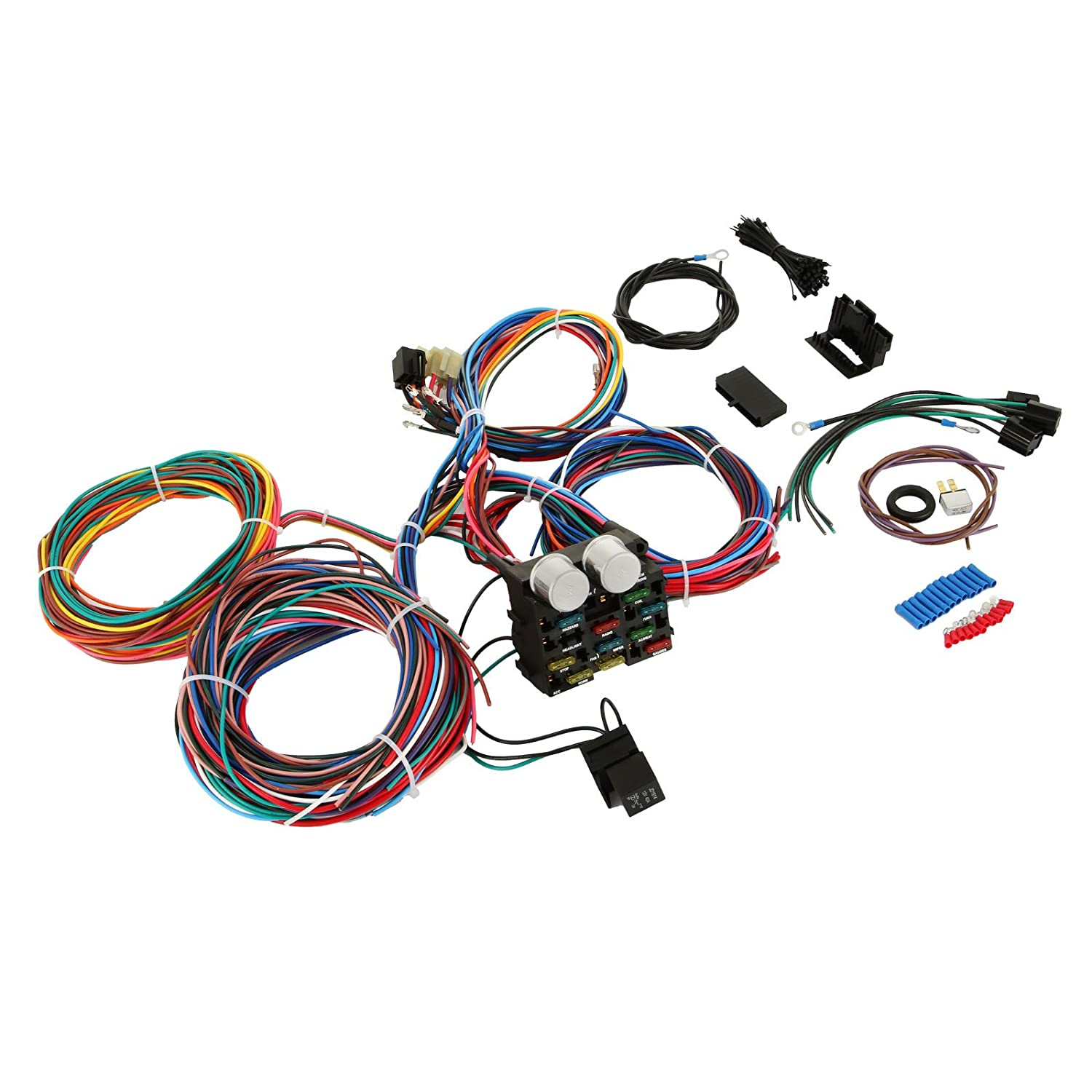 Street Rod Wiring Harness Kit Library Universal Wire Amazoncom Mophorn 12 Circuit Hot Muscle