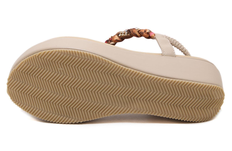 Jiu du Women's Sweet Medium High Heel Thong Platform Wedge Sandals B07B2SLYBY US8/CN39/Foot long 24.5cm|Beige Pu-rhinestone