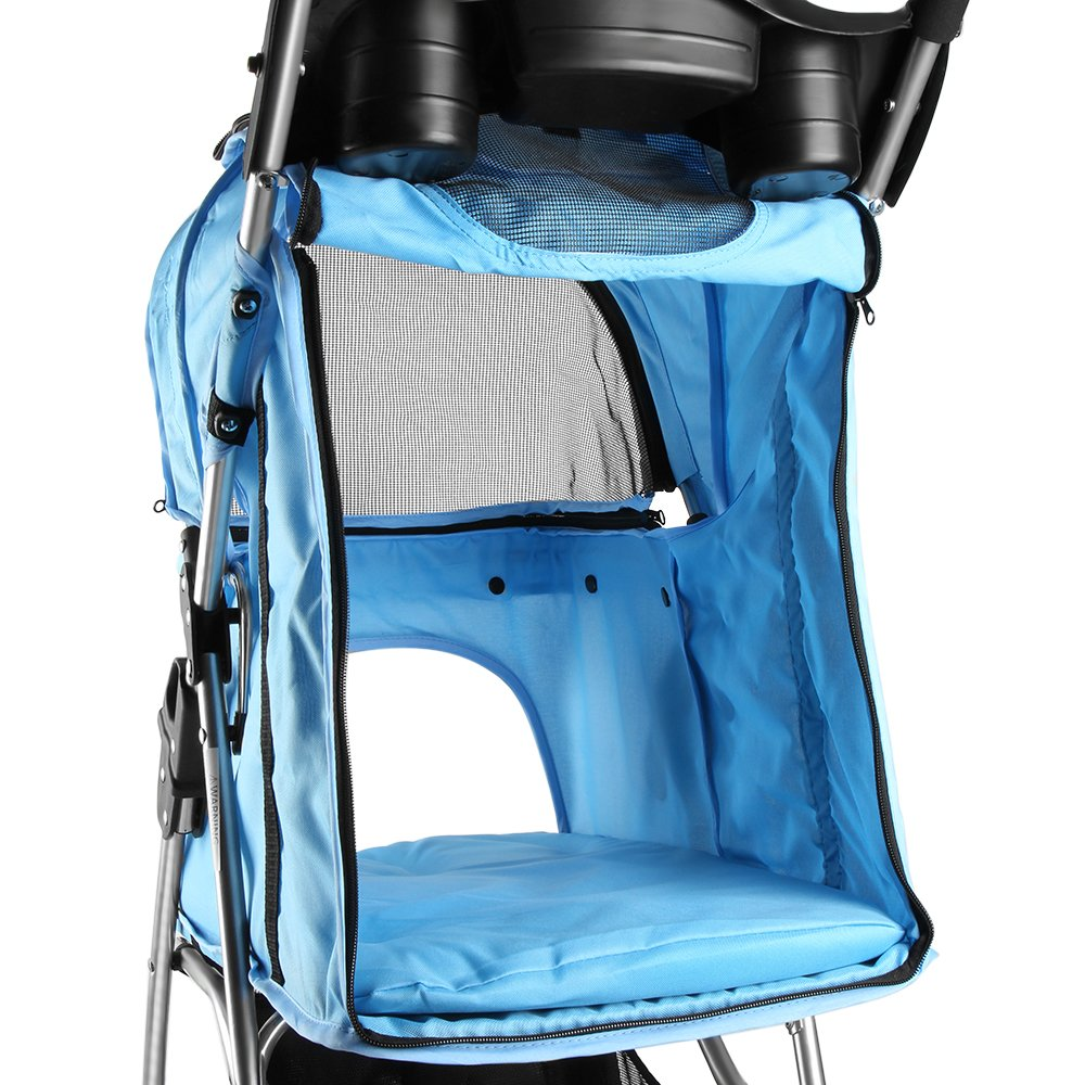 Flexzion Pet Stroller Dog Cat Small Animals Carrier Cage 4 Wheels Folding Flexible Easy Walk for Jogger Jogging Travel Up to 30 Pounds With Rain Cover Cup Holder and Mesh Window, Blue by Flexzion (Image #5)