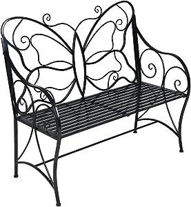 BestValue Go Outdoor Garden Metal Leisure Butterfly Bench Black