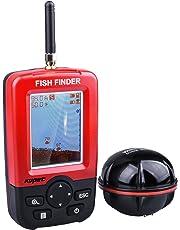 Kupet Sondeur Peche,Echos Détecteurs de Poissons Sans Fil, Technologie Ultrason Portable Fish Finder Profondeur Matrice de Points Sondeur avec LED Écran Coloré