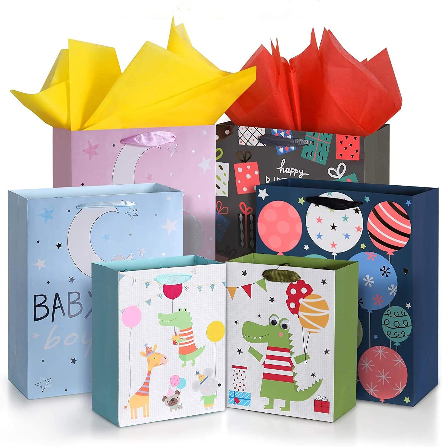 "OMEYA Paper Gift Bags,13"" Large Gift Bags and 9"" Small Gift Bags with 12PCS Tissue Paper, for Birthday, Baby Shower,Parties, Wedding, Shopping and More-(Pack of 6; 2X 9"",4X13"")"