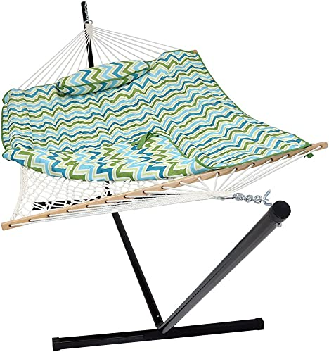 Prime Garden 9 Double Hammock with Space Saving Steel Hammock Stand, Elegant Desert Stripe