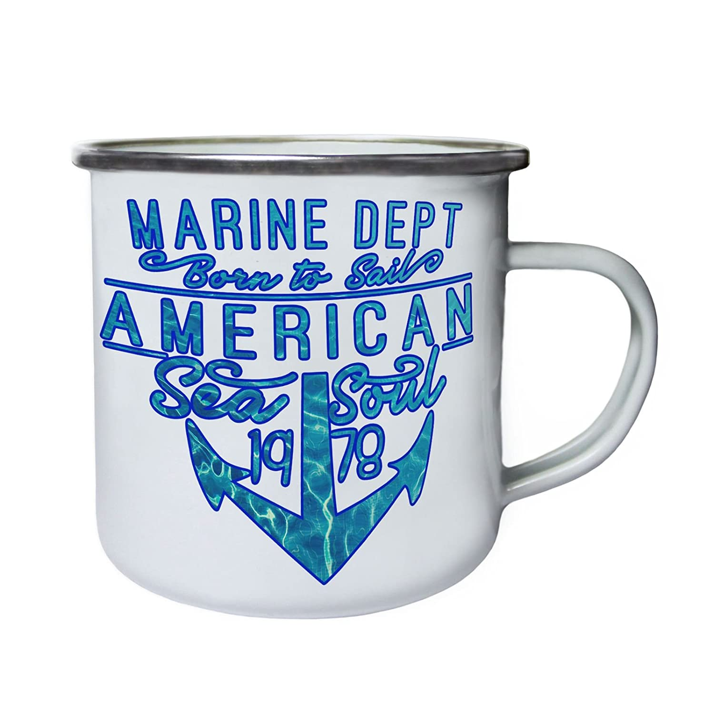 American Sea Soul Born to Sail Marine dept 1978 Retro, lata, taza del esmalte 10oz/280ml aa620e INNOGLEN