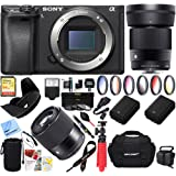 Sony a6500 4K Mirrorless Camera Body w/ APS-C Sensor Black (ILCE-6500/B) with Sigma 30mm F1.4 DC DN Lens Bundle