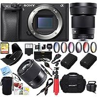 Sony ILCE-6500 a6500 4K Mirrorless Camera Body w/APS-C Sensor (Black) + 35mm f/2.8 Rokinon Prime Lens Bundle (Sigma 30mm F1.4 DC DN Lens Kit)