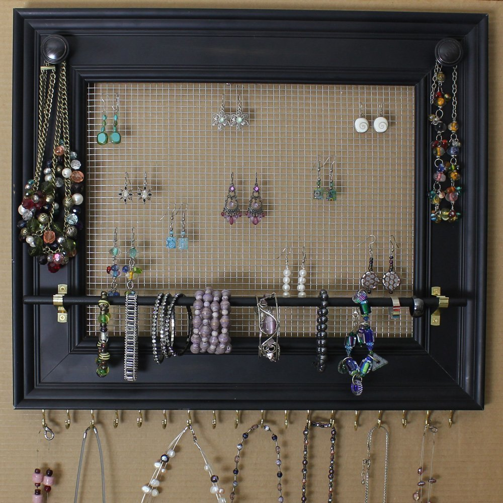 "B0186UJTA2 Jewelry Organizer Display Rack Holder Picture Frame- 19""x16""- Extra Large Wall Mounted 71sHwGyqvHL._SL1000_"