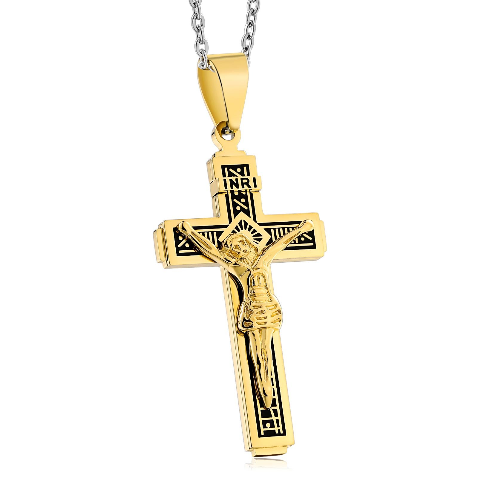 Bishilin Stainless Steel Pendant Necklace for Men Women Jesus Cross with Engraving Pattern Pendant Gold