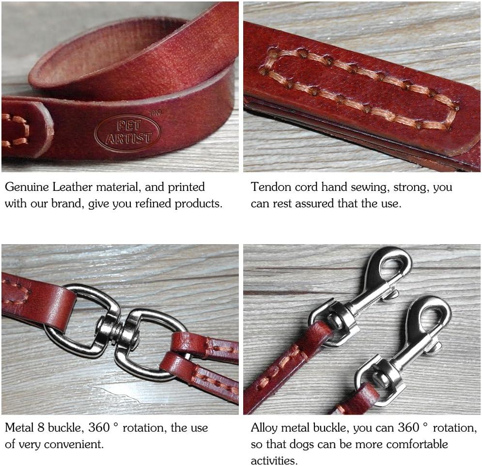Welpen Pet Artist Hundeleine aus weichem Leder 2-Wege-Leine f/ür kleine Hunde mit Schnalle leichtgewichtig ohne Verheddern