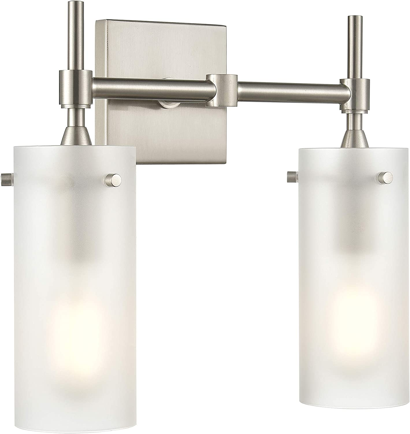 Effimero 2 Light Bathroom Vanity Light Brushed Nickel Hallway Wall Sconce, Frosted Glass Shade LL-WL32-FRST-1BN