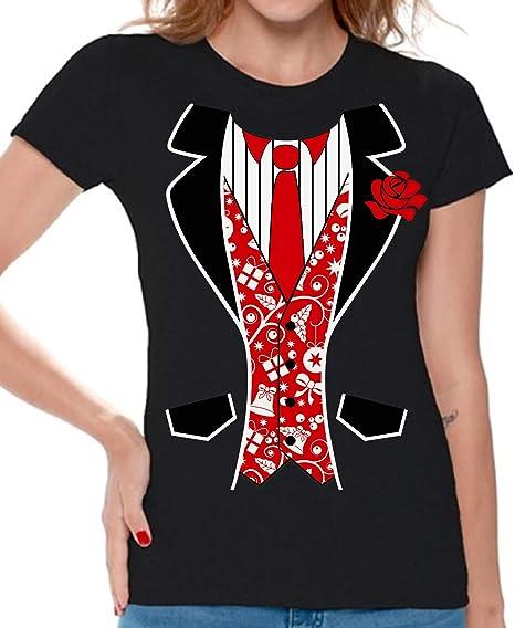 9b0b45865 Awkward Styles Red Tuxedo Women's Tshirt Tuxedo Ugly Christmas T Shirt Xmas  Gift Black S