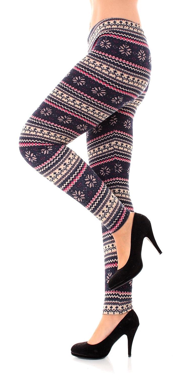 Diverse Design Damen Warme Winterlegging Thermo Leggings mit Norwegermotiv innen gefleeced