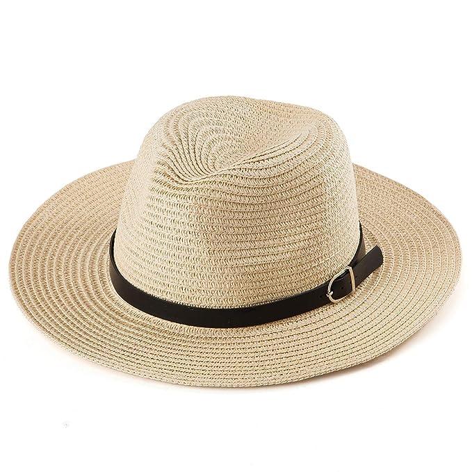 4a59690c2 Straw Fedora Hat for Women - Belt Panama Hat Men Wide Brim Beach Hat Women  Sun Hat