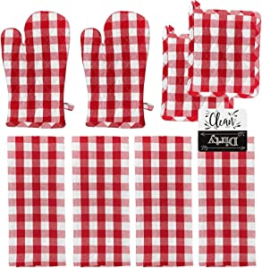 Oven Mitts and Pot Holders Sets with 4 Kitchen Towels 8 Piece Kitchen Set (Red)