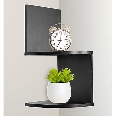 Greenco Modern Design 2 Tier Corner Floating Shelves, Espresso.