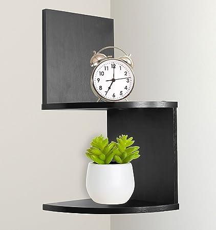 Greenco Modern Design 2 Tier Corner Floating Shelves Espresso