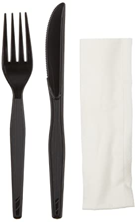Tris disposable cutlery in Clear Plastic 500 pcs with Napkin Bagged