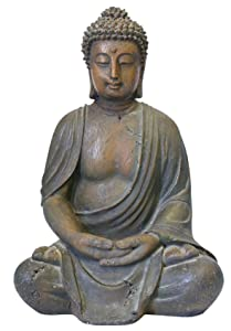 Alpine Corporation Meditating Buddha Statue - Outdoor Decor for Garden, Patio, Deck, Porch - Yard Art Decoration