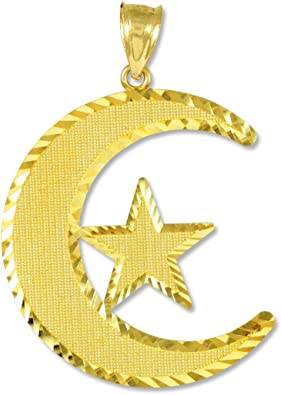 Amazon Com Middle Eastern Jewelry 10k Gold Islamic Charm Crescent Moon And Star Pendant Islamic Jewelry Jewelry