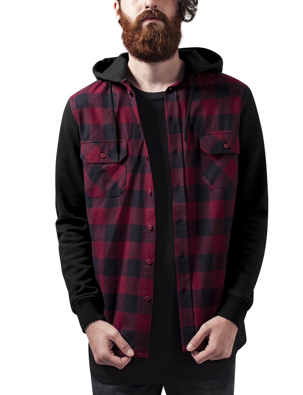 Hooded Checked Flanell Sweat Sleeve Shirt, Sudadera para Hombre, Mehrfarbig (Blk/Burgundy/Blk 798), XX-Large Urban Classics