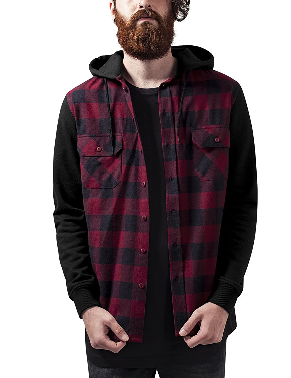 Urban Classics Hooded Checked Flanell Sweat Sleeve Shirt, Camisa para Hombre TB513