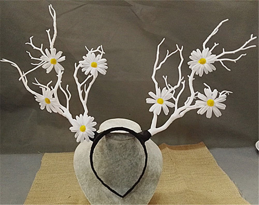 Christmas Fairy & Witch Tree Branches Antlers Headband Cosplay Party Butterfly Flower Headpiece Decoration Steampunk Vintage (2) by TanQiang