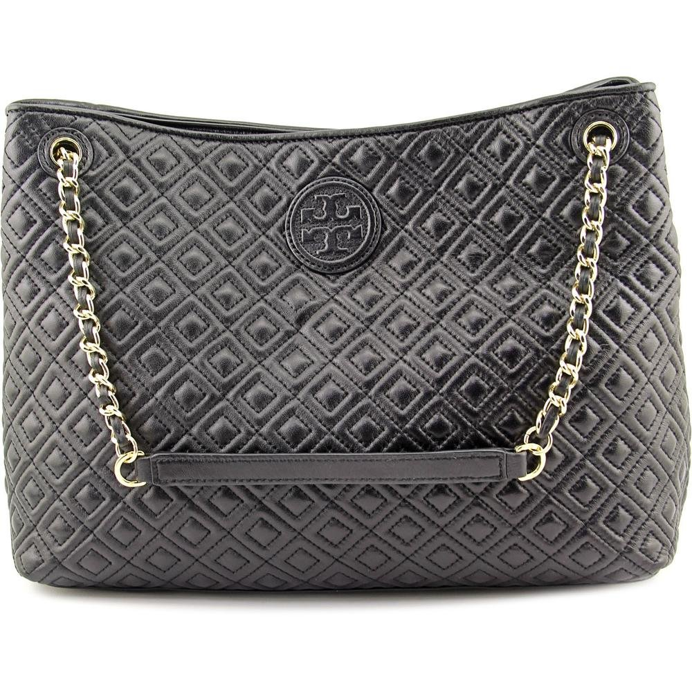 63358dc306a Amazon.com  Tory Burch Marion Diamond Quilted Leather Tote Black Handbag   Shoes