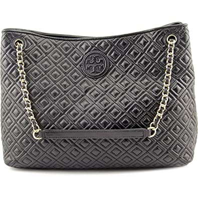 8c6e195eb07 Amazon.com  Tory Burch Marion Diamond Quilted Leather Tote Black Handbag   Shoes