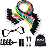 Pinjian Ultimate Resistance Band Set with Heavy Duty Rubber Resistance Bands, Door Anchors, Ankle Straps, Chest Expander, Foam Handles, Exercise Guide and Storage Bag for Full-body Workout
