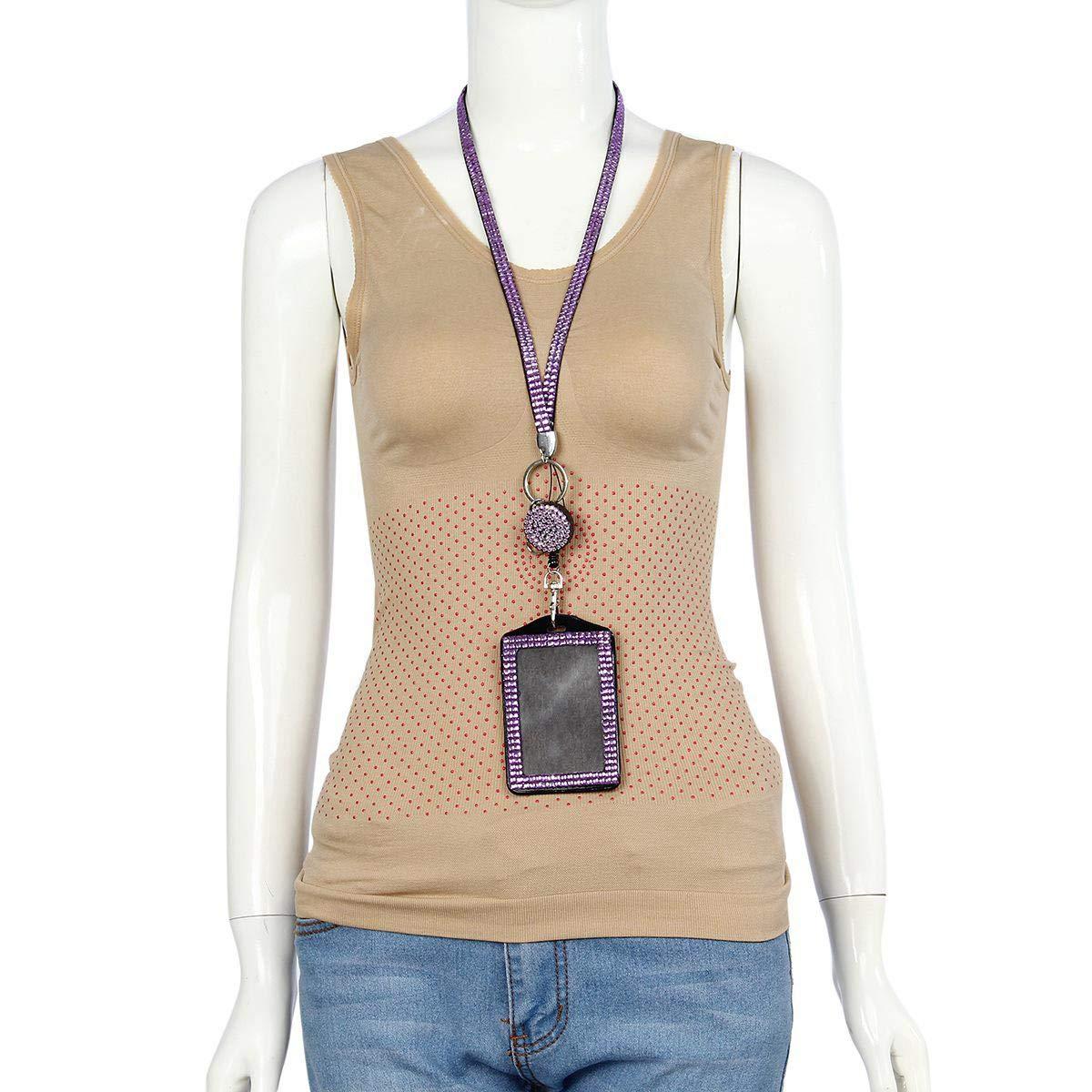 FOONEE Strass Porta ID Card Lanyard Cristallo con Cinghia da Collo a Scomparsa per Badge con Chiusura a moschettone di Sicurezza per Ufficio//Business Blue